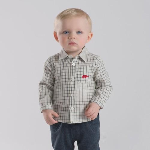DB2176 davebella baby grid printed shirts