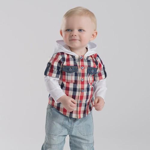 DB2185 davebella baby false two piece hooded shirt